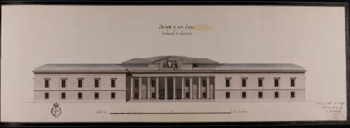 Alzado de la fachada principal de un tribunal de comercio marítimo y terrestre