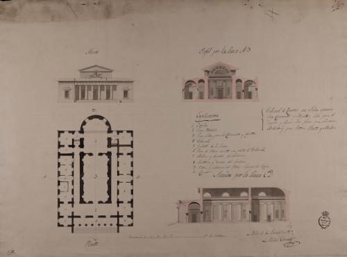 Planta, alzado de la fachada principal y secciones AB y CD de un tribunal de comercio