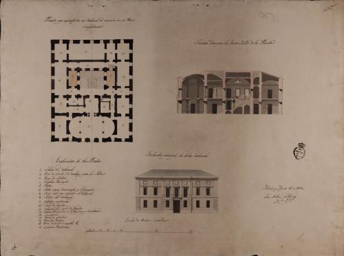 Planta, alzado de la fachada principal y sección AB de un tribunal de comercio