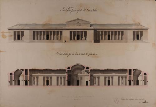 Alzado de la fachada principal y sección AB de un consulado para una capital