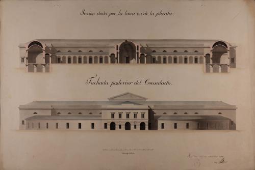 Alzado de la fachada posterior y sección CD de un consulado para una capital