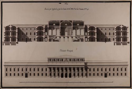 Alzado de la fachada principal y sección por longitud de las líneas ABCDEF de una Bolsa  o casa de contratación para Madrid