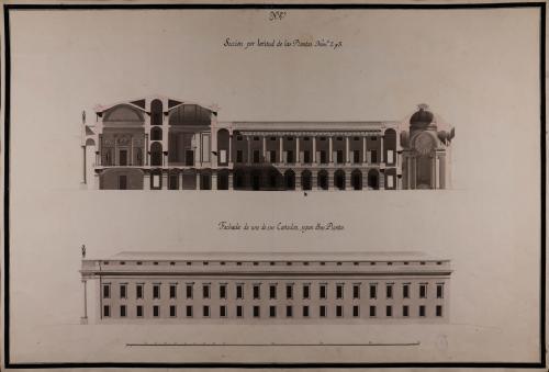 Alzado de la fachada lateral y sección por latitud de las plantas nº 2 y 3 de una Bolsa o casa de contratación para Madrid