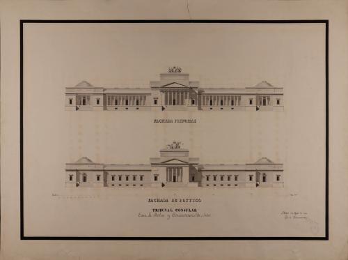 Alzado de las fachadas principal y posterior de un tribunal consular, casa de bolsa y conservatorio de artes