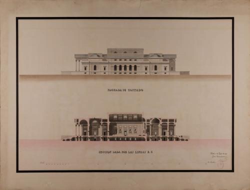 Alzado de la fachada lateral y sección EF de un tribunal consular, casa de bolsa y conservatorio de artes