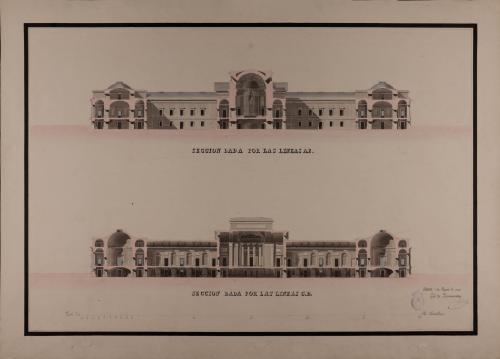 Secciones AB y CD de un tribunal consular, casa de bolsa y conservatorio de artes