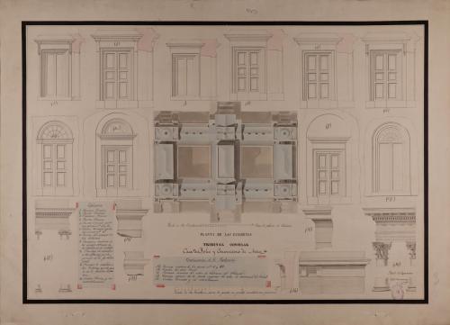 Planta de cubiertas y detalles de cornisas, orden corintio e intercolumnios de un tribunal consular, casa de bolsa y conservatorio de artes
