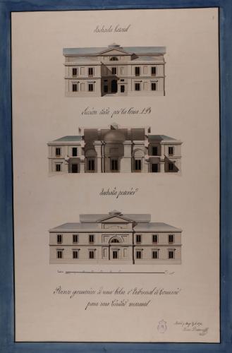 Alzado de las fachadas lateral y posterior, y sección AB de una Bolsa o tribunal de comercio para una ciudad mercantil
