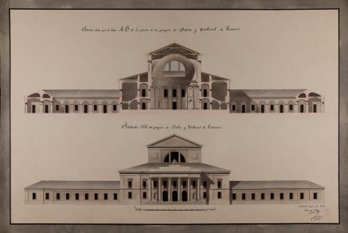 Alzado de la fachada principal y sección AB de una Bolsa y tribunal de comercio