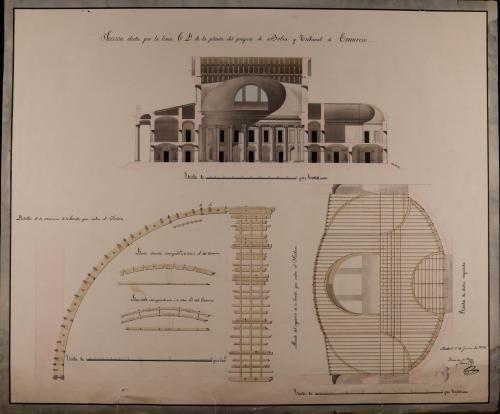 Sección CD, planta y sección del esqueleto que cubre la bóveda del salón y detalles del mismo de una Bolsa y tribunal de comercio