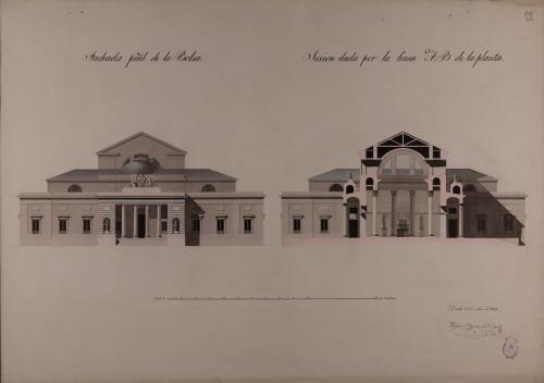 Alzado de la fachada principal y sección AB de la Bolsa y tribunal de comercio