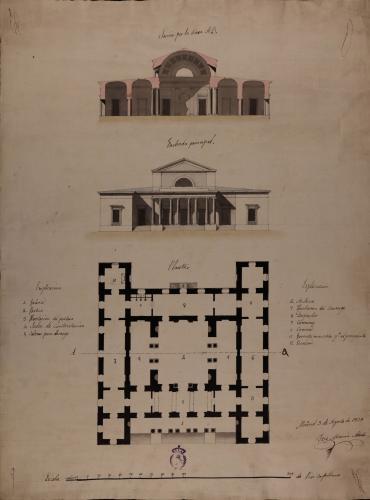 Planta, alzado de la fachada principal y sección AB de una casa de contratación