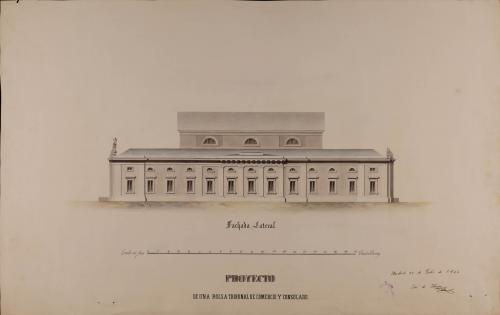 Alzado de la fachada lateral de un aBolsa, tribunal de comercio y consulado