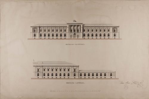 Alzado de la fachadas principal y lateral de una casa de moneda para Madrid