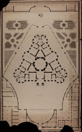 Planta de una casa a la italiana sobre un triángulo equilátero