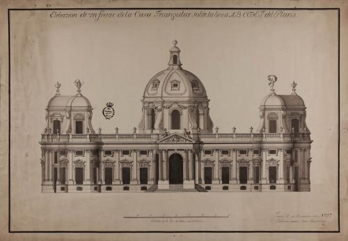 Alzado de la fachada principal de una casa a la italiana sobre un triángulo equilátero