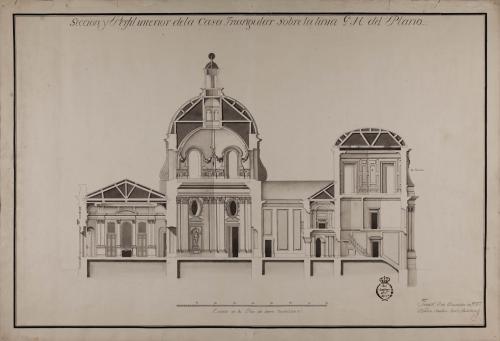 Sección de una casa a la italiana sobre un triángulo equilátero