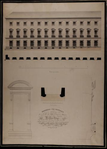 Planta y alzado de la fachada lateral, y detalles en grande de la planta, el alzado y la sección de la ventana principal del palacio del conde de Altamira