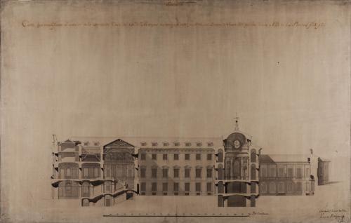 Sección AB de la casa palacio del marqués de Astorga, conde de Altamira