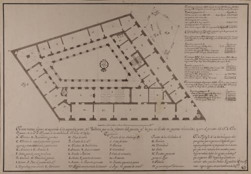 Planta principal de una casa palacio para un título, en un trapecio que haga esquina a dos calles