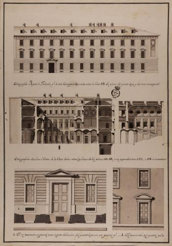 Alzado de la fachada principal de un fragmento en grande del cuarto bajo y principal; secciones AA.AB, EFG y HR de una casa palacio para un título, en un trapecio que haga esquina a dos calles