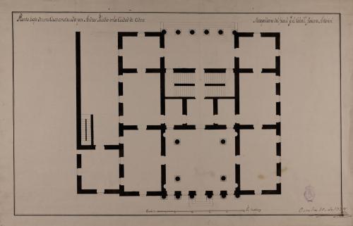 Planta baja de una casa palacio construida por Andrés Paladio en la ciudad de Udine
