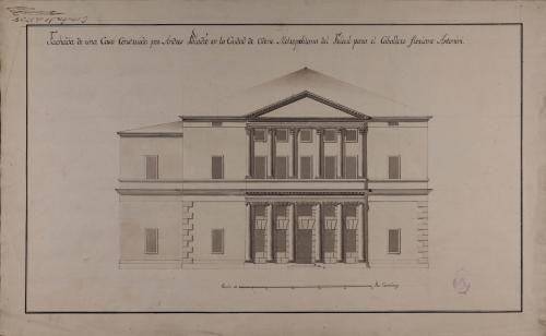 Alzado de la fachada principal de una casa palacio construida por Andrés Paladio en la ciudad de Udine