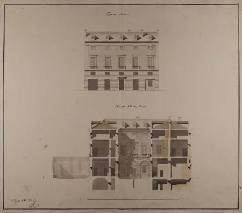 Alzado de la fachada principal y sección AB de una casa para un señor particular con dos tiendas