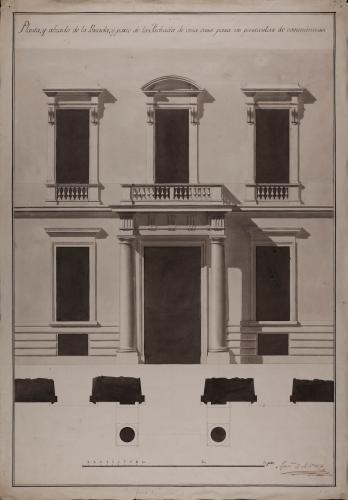 Planta y alzado de una portada y parte de la fachada de una casa para un particular