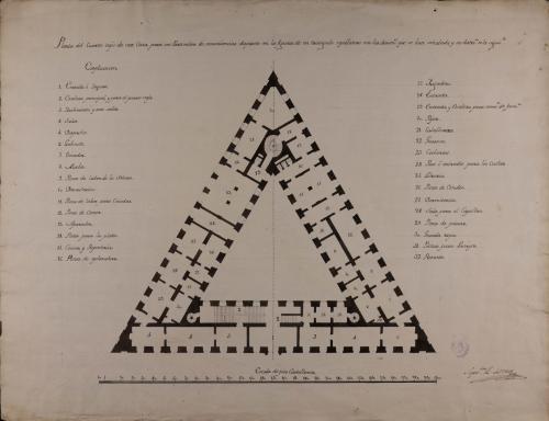 Planta baja de casa para un particular dispuesta en la figura de un triángulo equilátero