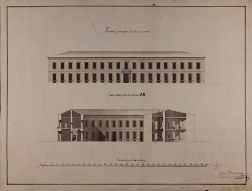 Alzado de la fachada principal y sección AB de una casa para un particular dispuesta en la figura de un triángulo equilátero