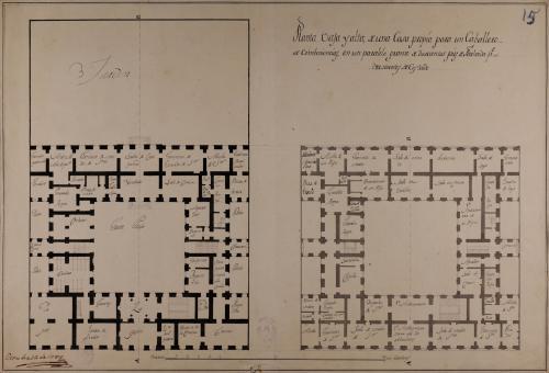 Plantas baja y principal de una casa palacio en un paralelogramo