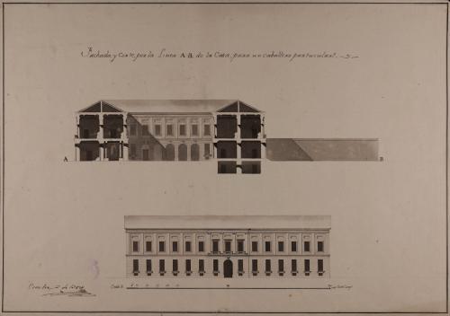 Alzado de la fachada principal y sección AB de una casa palacio en un paralelogramo