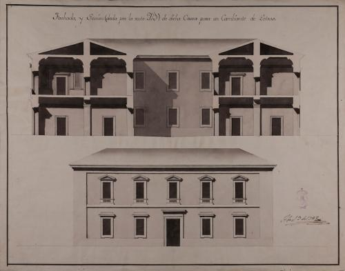 Alzado de la fachada principal y sección AB de un casa arreglada para un cambiante de letras