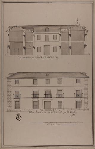 Alzado de la fachada principal y sección CD de una casa para un señor hacendado, con oficinas de labor