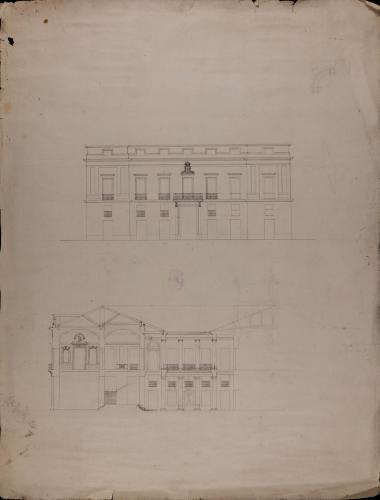 Alzado de la fachada principal en mayor escala y sección de una casa palacio del Conde de Buenavista en la Habana