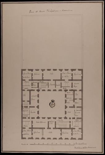 Planta principal de una casa de un rico comerciante sobre un sitio de 140 pies de fachada por 280 de fondo