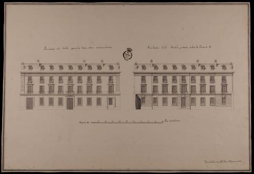 Alzado de las fachadas que dan a la calle y el jardín, y la sección AB de una casa de un rico comerciante sobre un sitio de 140 pies de fachada por 280 de fondo
