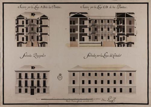 Alzado de las fachadas principal y lateral, y las secciones AB y CD de una casa de arrendamiento para Madrid