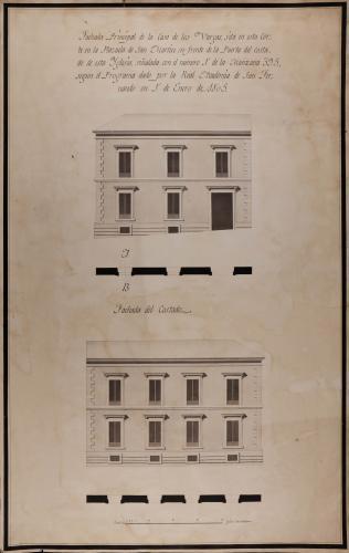 Plantas y alzados de las fachadas principal y laterales de la casa de los Vargas, en la plazuela de San Martín