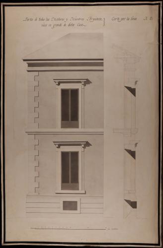 Alzado y sección AB de partes en grande de molduras y miembros arquitectónicos de la fachada de la casa de los Vargas, en la plazuela de San Martín
