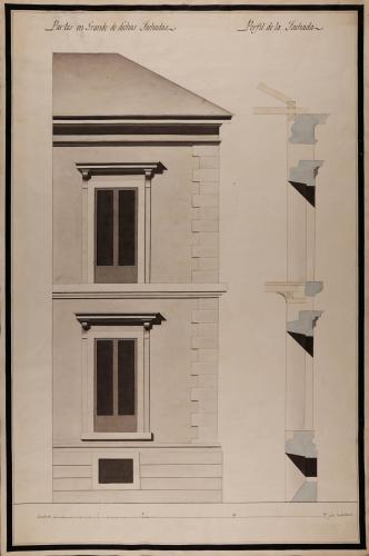Alzado y sección de partes en grande de las fachadas la casa de los Vargas, en la plazuela de San Martín