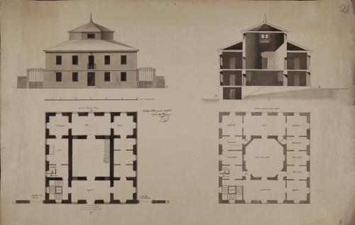 Plantas baja y principal, alzado de la fachada principal y sección AB de una casa particular en Bilbao