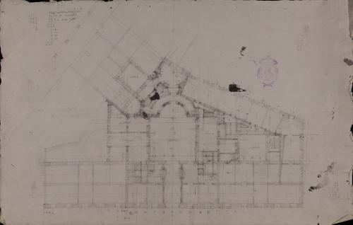 Apuntes de la planta de una casa que intenta construir la marquesa de la Vilueña en en el centro de Burgos