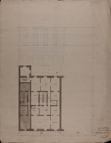 Planta principal y alzado de la fachada principal de la casas de Pedro Velasco en Vitoria