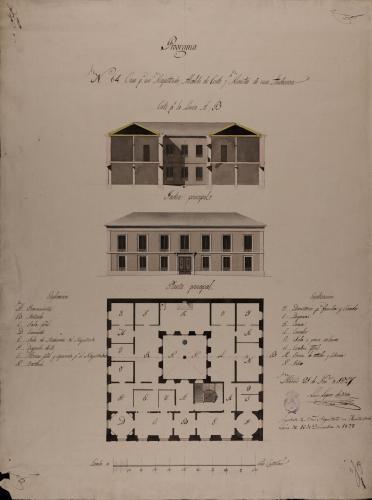 Planta, alzado de la fachada principal y sección AB de una casa para un magistrado, alcalde de corte y ministro de una audiencia