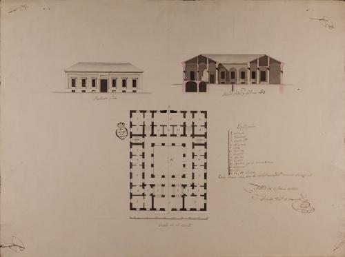 Planta, alzado de la fachada principal y sección AB de una casa para un caballero de conveniencias