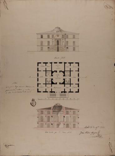 Planta baja, alzado de la fachada principal y sección AB de una casa de campo o recreo para una persona con título