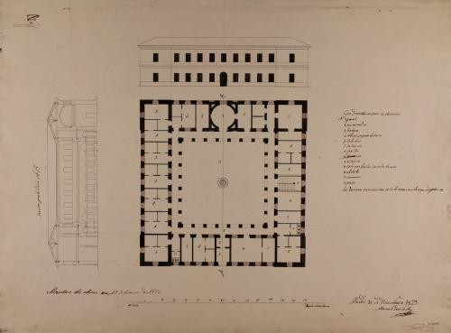 Planta, alzado de la fachada principal y sección AB de una casa de reclusión o cárcel, para eclesiásticos de los principales del reino