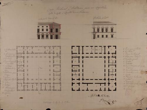 Plantas baja y principal, mitad del alzado de la fachada principal y sección AB de una casa tribunal y habitación para un magistrado, alcalde de corte o ministro de una audiencia